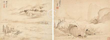 Attributed to Wang Hui (1632 - 1717) Two Landscapes  (2)