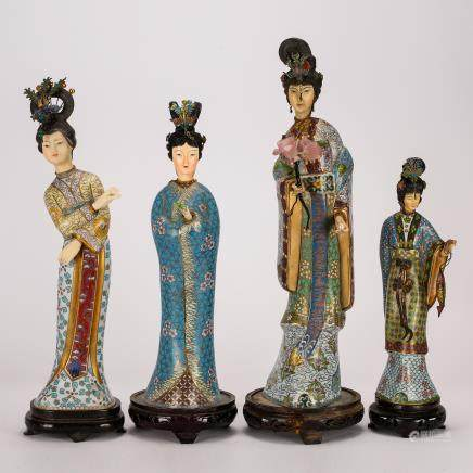 CHINESE CLOISONNE LADY FIGURINES, SET OF 4