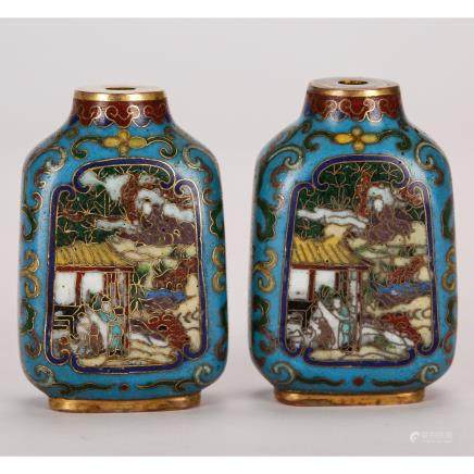 CHINESE CLOISONNE ENAMEL SNUFF BOTTLES, PAIR
