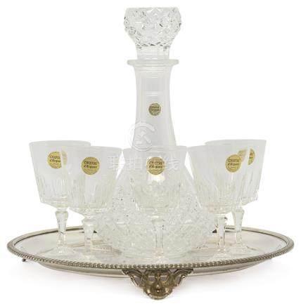 法國 CRISTAL D'ARQUES 水晶刻花酒具一套六件(全新)(附鍍銀盤)