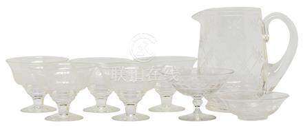 水晶壺、雪糕杯、小食碟、酒壺八件 (全新)