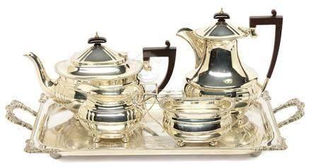 1962年 英國 FAIRFAX ROBERTS & Co.  銀花卉茶具一套四件 (附鍍銀盤)