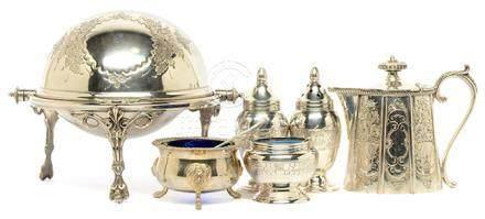 鍍銀點心盒、調味器六件
