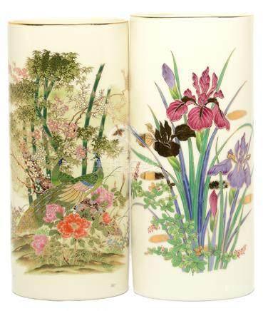 日本 粉彩描金花鳥瓶二件