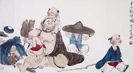 徐樂樂  童子戲僧圖