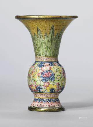 A RARE PAINTED ENAMEL GU-SHAPED MINIATURE VASE