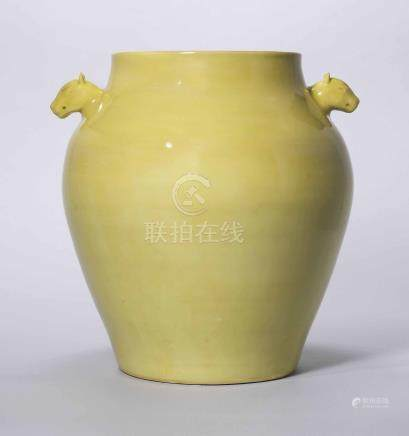 A RARE YELLOW-GLAZED TWIN-HANDLED JAR
