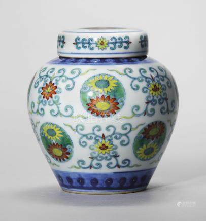 A DOUCAI 'CHRYSANTHEMUM' JAR AND COVER