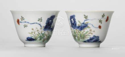 A PAIR OF FAMILLE VERTE 'MONTH' CUPS