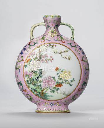 A RARE AND EXCEPTIONAL SMALL PINK-GROUND FAMILLE ROSE MOONFLASK