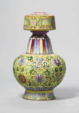 A YELLOW-GROUND FAMILLE ROSE TIBETAN-STYLE VASE, BENBAPING