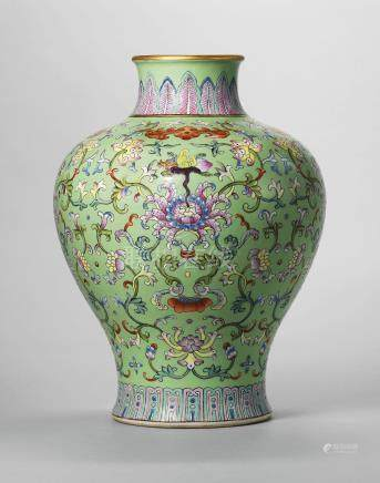 A LIME-GREEN GROUND FAMILLE ROSE VASE, MEIPING