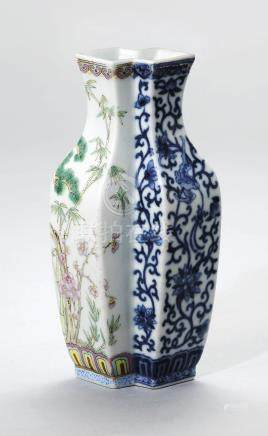 A BLUE AND WHITE AND FAMILLE ROSE CONJOINED VASE