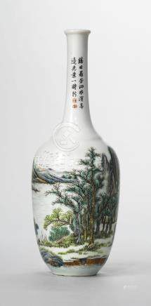 A FAMILLE ROSE INSCRIBED 'LANDSCAPE' BOTTLE VASE