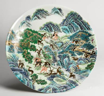 A LARGE DECORATIVE PLATE WITH 'HUNDRED DEER' MOTIF
