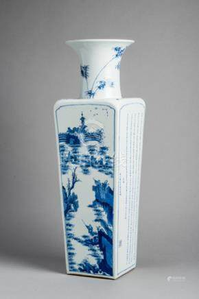 A LARGE BLUE AND WHITE VASE WITH SHANSHUI LANDSCAPE