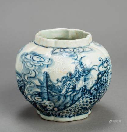 A CHINESE GLAZED STONEWARE POT VESSEL WITH DRAGON