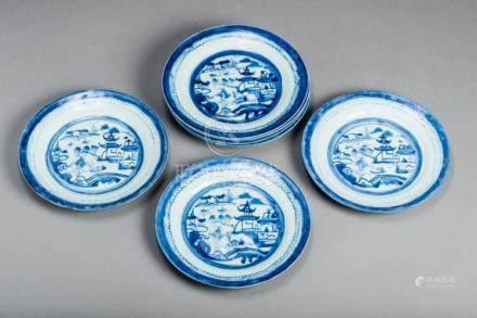 SEVEN BLUE AND WHITE CANTON PLATES