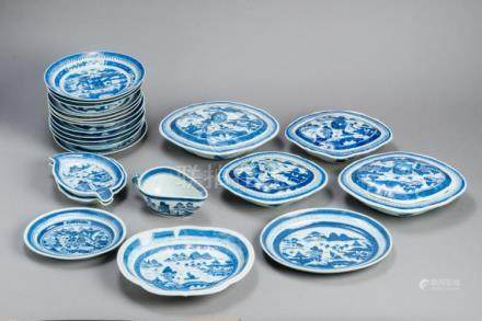 A LARGE BLUE AND WHITE CANTON PORCELAIN SERVICE