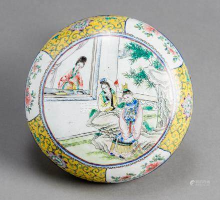 A CANTON ENAMEL BOX AND COVER