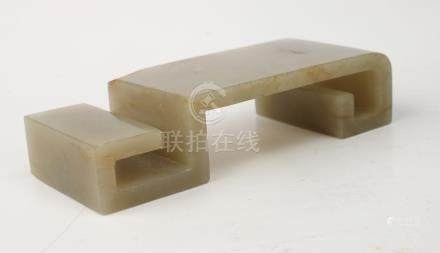 QING DYNASTY HETIAN JADE STAND/BRUSH REST