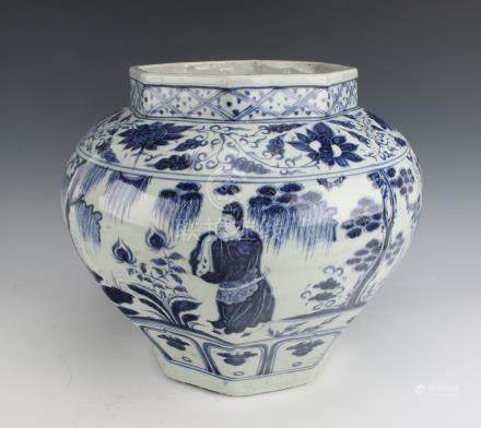 BLUE AND WHITE OCTAGONAL YUAN STYLE PLANTER