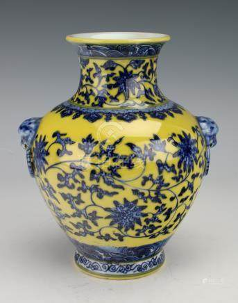SMALL BLUE & YELLOW VASE