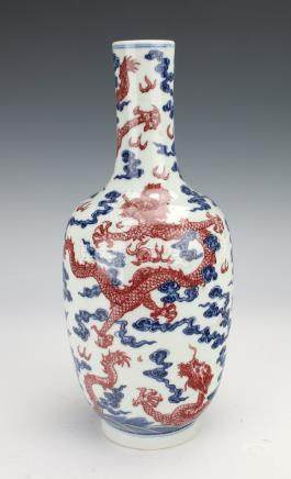 BLUE AND RED DRAGON VASE