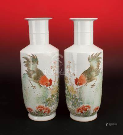 PAIR OF REPUBLIC PERIOD MIRRORED ROOSTER VASES
