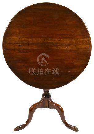 A mahogany tripod table, 19th century and later