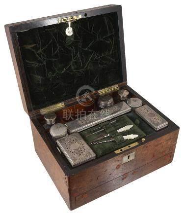 A Victorian walnut dressing table box,
