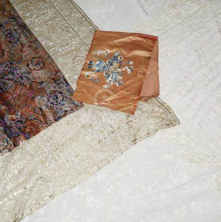 A 1930's silk and gold thread textile and other textiles