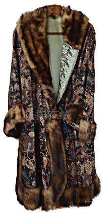 A 1920's silk brocade ladies Chinese style 'dragon' opera coat