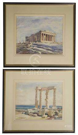 A pair of early 20th century watercolours of Greek ruins