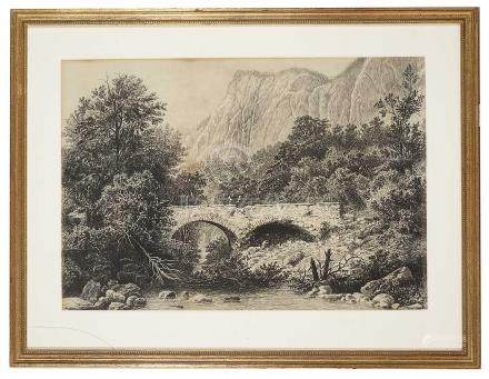 Viaduct over River- early 19th century pencil and charcoal drawing