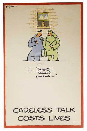 Kenneth Bird - Fougasse - original WWII 'Careless Talk Costs Lives' poster