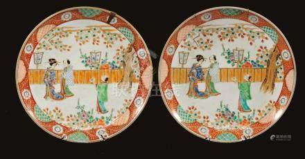 PAIRE DE PLATS IMARI, CHINE 19ème SIECLE
