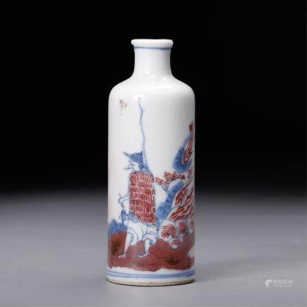 CHINESE BLUE WHITE IRON RED SNUFF BOTTLE