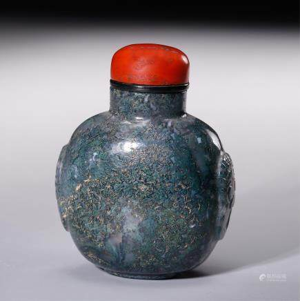 CHINESE MOSS AGATE SNUFF BOTTLE