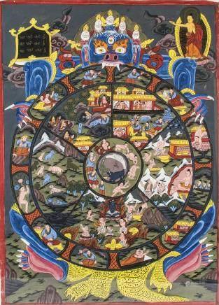 Tibetan Thangka of Wheel of Life on Paper Framed