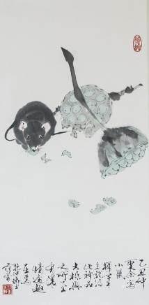 FAN ZENG Chinese b.1938 Watercolor Scroll Mouse
