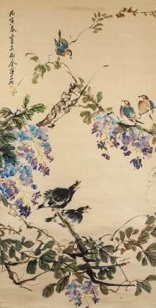 JIN MENGSHI Chinese 1869-1952 Watercolour Birds