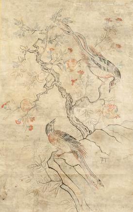 Korean Yi Dynasty 1392-1910 Watercolour Pheasants