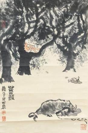 LI KERAN Chinese 1907-1989 Watercolor Paper Scroll