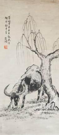 XU BEIHONG Chinese 1895-1953 Watercolor Scroll