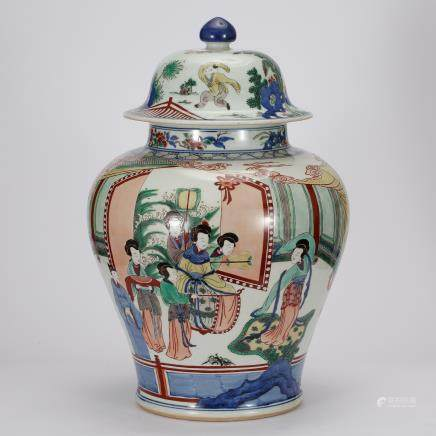 CHINESE WUCAI PORCELAIN COVER JAR