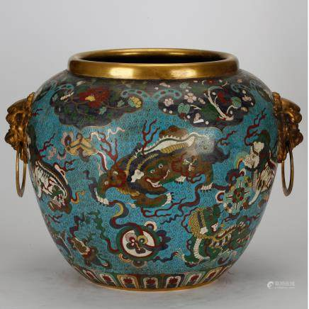 CHINESE CLOISONNE FOOLION JAR