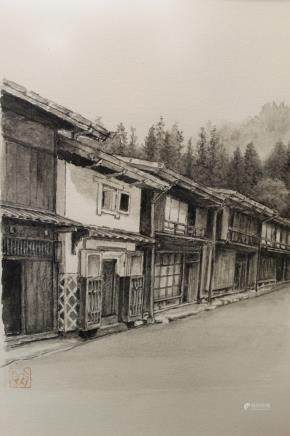 Street view, Japanese lithograph.