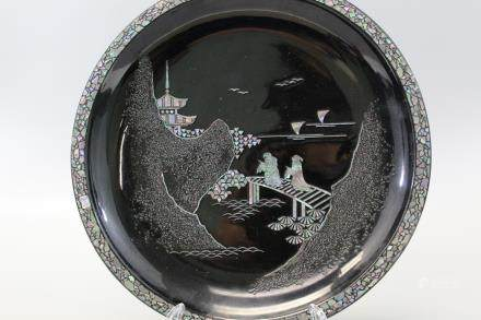 Japanese lacquered plate with mother of pearl inlaid