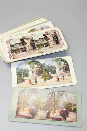 Thirty-nine pieces of Asian  colored stereo views